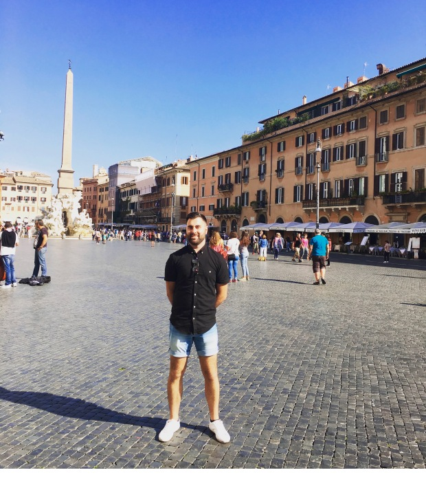 Sam in Piazza Navona: beautiful market square. My favourite place in Rome.